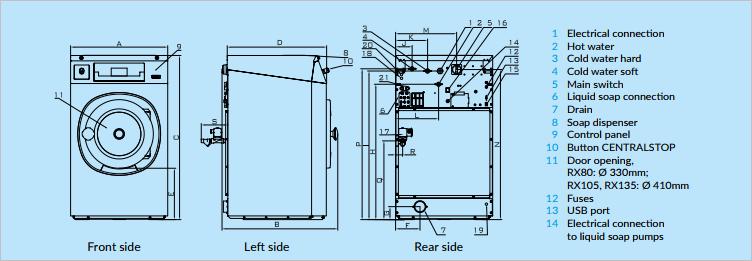 Chi tiet cac bo phan primus RX 105 - Máy giặt công nghiệp primus RX 105